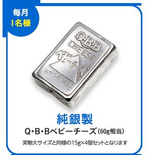 「毎月1名様」純銀製Q・B・Bベビーチーズ(60g相当) 実物大サイズと同様の15g×4個セットとなります